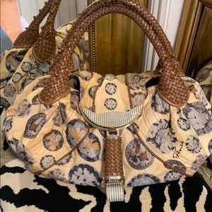 FENDI Floral Satchel w/ braided Leather trim